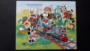 Disney - Tanzania 1991. - Train / Alphabet ** MNH Block