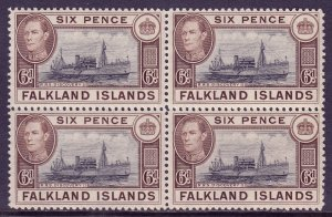 Falkland Islands - Scott #89 - Block/4 - MNH - Gum toning - SCV $46
