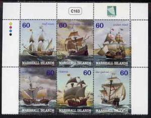 Marshall Islands 2000 Sailing Ships perf se-tenant block ...