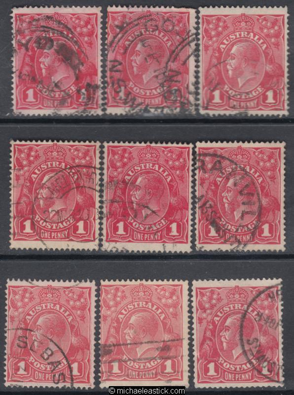 1d Red King George V Single W/mark (Type 2) Plate 3 - Nine (9) Pane 5 Varieties