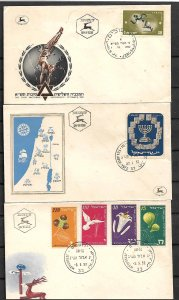 ISRAEL STAMPS  3 FD COVERS  1952
