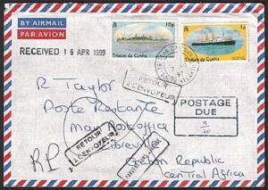 TRISTAN DA CUNHA 1997 Returned postage due cover to Gabon..................78822