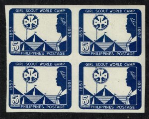 Philippines Stamp  1957 Girl Guides' Pacific World Camp BLK OF 4 STAMP MNH/OG