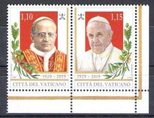 2019 Vatican - 2 Values IN Pair - 90° Fondazione City Del Vatican 1929
