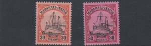 MARSHALL  ISLANDS 1901   S G  G16 + G19   VALUES TO 80PF   LMH