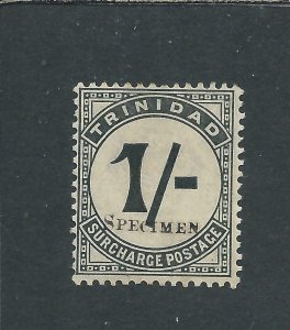 TRINIDAD & TOBAGO POSTAGE DUE 1885 1s SLATE-BLACK OVPT SPECIMEN MM SG D9