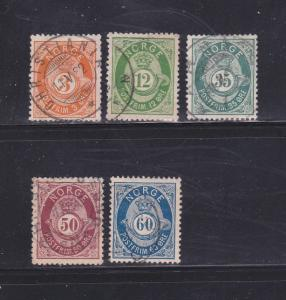 Norway 23, 26, 29-31 U Post Horn and Crown