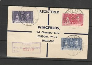 British Solomon Islands 1937 Coronation on Wingfields cover to UK, Registered,