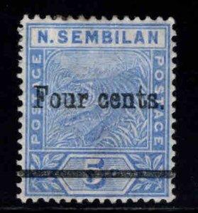 MALAYA Negri Sembilan Scott 18 surcharged Tiger stamp MH*