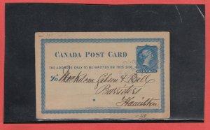 WINDSOR ONT 1875 BLUE HANDSTAMP DUPLEX split ring Canada post card