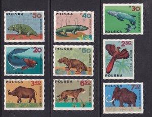 Poland   #1395-1403     MNH  1966  dinosaurs