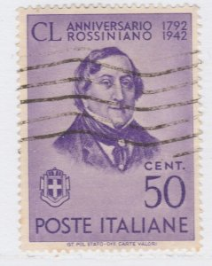 Italy Kingdom G. Rossini Composer Musician 1942 50c Used Stamp A19P47F943
