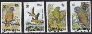 WWF Saint Lucia # 902-905, Amazonian Parrots, Used Set