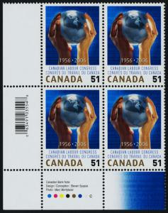 Canada 2149 BL Plate Block MNH Canadian Labour Congress