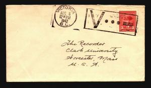 Canada 1942 Cover / V For Victory Cancel - Z15385