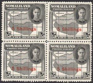 SOMALILAND-1951 5/- on 5r Black Block of 4 Sg 135 UNMOUNTED MINT V42925