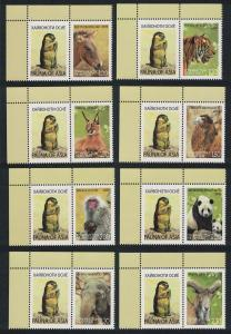 Tajikistan Tiger Panda Camel Caracal Elephant Fauna of Asia 8v with labels