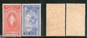 India Travancore Cochin State Shell & Tree SG 12-13 / Sc 16-17 Cat. £8 MNH Fine