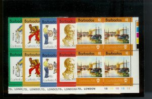BARBADOS Sc#550-554 Complete Mint Never Hinged PLATE BLOCK Set