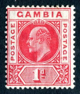 Gambia 1909 KEVII. 1d red. MC CA. Mint. LH. SG73.