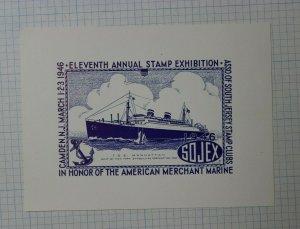 1946 SOJEX 11th Annual Stamp Expo American Merchant Marine Souvenir Label Ad