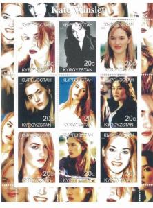 KATE WINSLET Mini Sheet of 9 MNH  Kyrgyzstan - E10