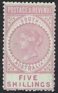 SOUTH AUSTRALIA 1886 QV POSTAGE & REVENUE 5/- PERF 11.5 - 12.5