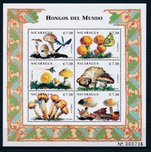 [37989] Nicaragua 1999 Insects Mushrooms Pilze MNH Sheet