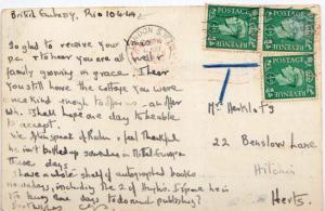 Great Britain 1/2d KGVI (3) 1944 London PPC to Hitchin, England.  Shortpaid s...