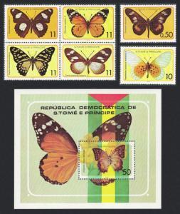 Sao Tome Butterflies 6v+MS MI#561-566+Block 32 SC#501=507