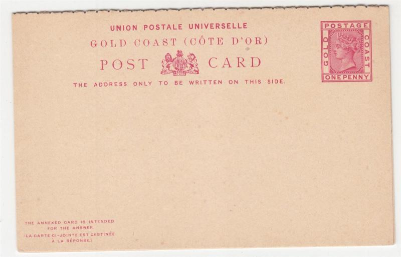 GOLD COAST, Postal Card with Reply attached, c1890 QV 1d. Carmine, unused.
