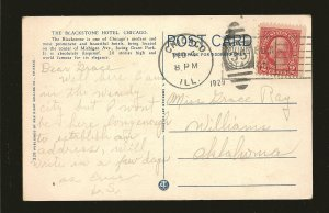 USA 554 on Postmarked 1929 Chicago Ill Blackstone Hotel Postcard Used