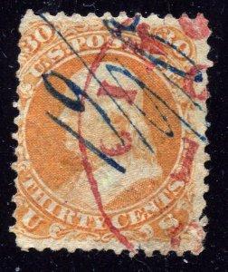 US Stamp #71 30c Orange Franklin USED SCV $210⭐⭐⭐⭐⭐