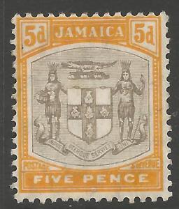 JAMAICA SG43 1907 5d GREY & ORANGE-YELLOW MTD MINT
