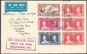 NEW ZEALAND 1937 First flight to USA - AUCKLAND LOOSE LETTER cds...........27736