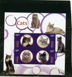 BEQUIA CATS SHEET OF 4 STAMPS MNH