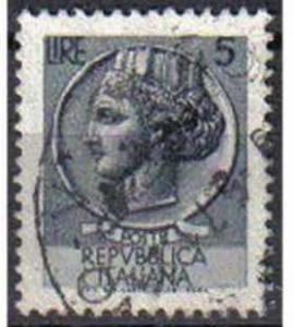 ITALY, 1968, used 5c, Syracuse fluorescent, Watermark Filigree Star IV, small...