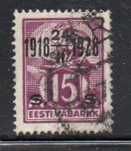 Estonia Sc 87 1928 15m surcharged 10th Anniversary stamp used
