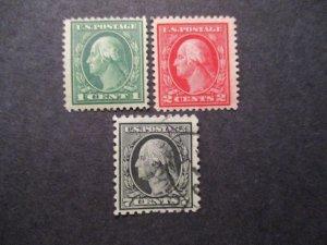 US Bureau Stamp Issue S#405-07 3v singles, 1c 2c MNH OG, 7c Used