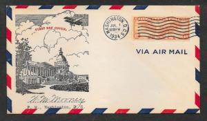 C19 6¢, Winged Globe FDC,  Signed, Free Insured Shipping;
