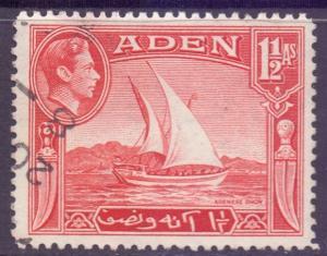Aden Scott 19 - SG19, 1939 George VI 1.1/2a used