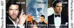 Turkmenistan 1997 James Bond 007 Pierce Brosnan strip(3)mnh