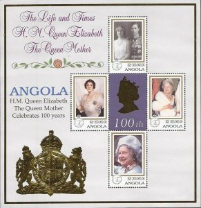 Angola - 1999 Queen Mother 100th Birthday - 4 Stamp Sheet - Scott #1086