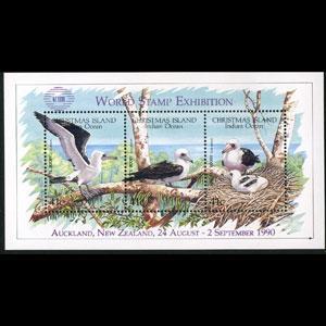 CHRISTMAS IS. 1990 - Scott# 274d S/S Birds(Pur.Opt) NH