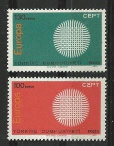 Turkey # 1848-49   Europa 1970   (2)  Mint NH