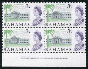 BAHAMAS SG297a 1967-71 3c Whiter paper imprint block of 4 U/M