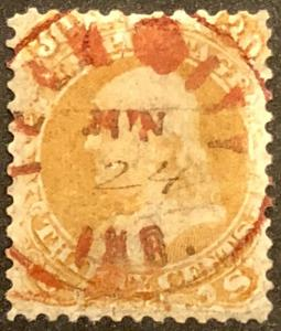TangStamps U.S. Stamp 71 Franklin Used Red Tell City Cancel Hand Filled Date