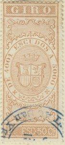 DEPENDENCIAS ESPAÑOLAS - 1868 Sello Fiscal (GIRO) 2.50 Escudos - usado