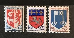 France 1966 #1142-44, MNH, CV $.80