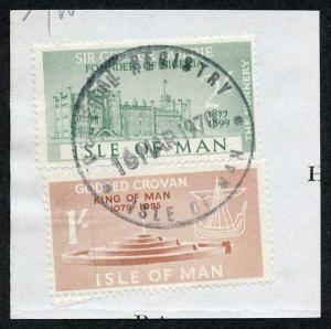 Isle of Man 2/- Green and 1/- Brown QEII Pictorial Revenues CDS On Piece